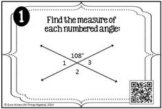 Angles Measures Task Cards - with or without QR codes!