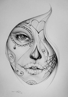 Chicano Girl's Face tattoo sketch