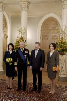 Queen Silvia and King Carl XVI Gustaf of Sweden pose with Finland's President Sauli Niinisto and his spouse Jenni Haukio at the Presidential Palace in Helsinki, Finland on March The Swedish. Queen Of Sweden, Queen Silvia, Swedish Royals, Royal House, Jenni, Finland, Royalty, King, Poses
