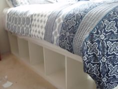 IKEA Hackers: Expedit re-purposed as bed frame for maximum storage
