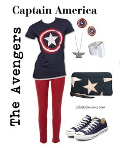 Captain America - Disney Heroes and Villains Fashion via Parent at… Disney Bound Outfits, Disney Inspired Outfits, Disney Dresses, Disney Style, Marvel Fashion, Disney Fashion, Women's Fashion, Captain America Outfit, Avengers Outfits