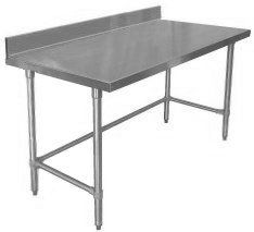 """Quality Commercial Kitchen Equipment - Economy Stainless Open Base Work Table w 4"""" Backsplash 24x108 499."""