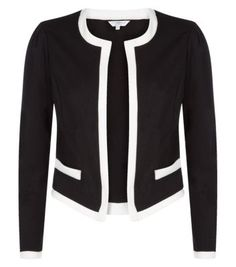 Black and White Collarless Crop Jacket - Blazers - Womens | New Look