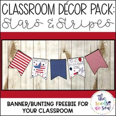 Do you have a space on your classroom wall or door where you need that perfect piece of seasonal or holiday decor? Look no further! This Patriotic Decor Banner Pack has got you covered. Its fun and fresh design will bring the perfect patriotic touch to your