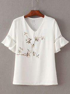 White V Neck Ruffle Sleeve Embroidery Blouse -SheIn(abaday)