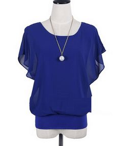 Chiffon Top with Batwing Sleeves