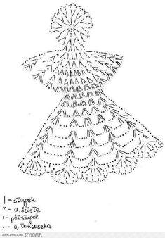 Jeszcze o aniołkach - Her Crochet Crochet Angel Pattern, Crochet Doily Diagram, Crochet Angels, Crochet Stars, Crochet Snowflakes, Crochet Doily Patterns, Crochet Doilies, Fabric Christmas Trees, Crochet Christmas Ornaments