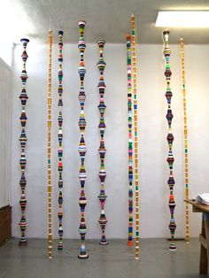 Decorative columns made with Plastic Bottles & Caps.