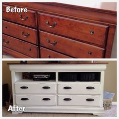 Converted a 6 drawer dresser into a 4 drawer media center:) Used Annie Sloan Chalk Paint (Country Grey under Pure White) & Clear Soft Wax! Stained the top & added fabric to the back wall for some added character!