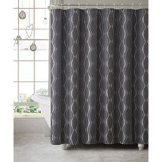 Victoria Classics Black Grayson Shower Curtain Set (170 HKD) ❤ liked on Polyvore featuring home, bed & bath, bath, shower curtains and black shower curtains
