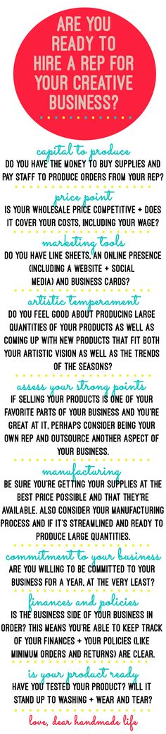are you ready to hire a rep for your creative handmade business