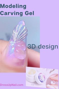 Gel for decorating manicure. Has a plastic texture, does not run away and does not spread during work #nails #3Dnails #nailart #dressupnail Work Nails, 3d Nails, Easy Art, Simple Art, Plastic Texture, Mirror Powder, Glitter Manicure, Ballerina Nails, Flower Nails
