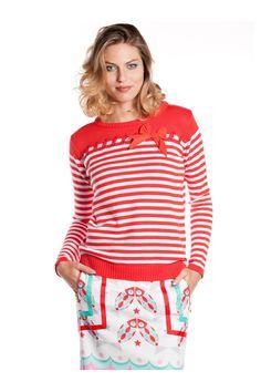 Jersey de rayas con cinta y lazo de adorno - MUJER | Rosalita McGee #navystyle #moda #fashion #original #diferente #jersey