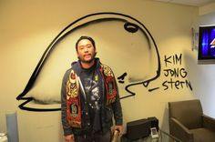 "Artist David Choe draws on the Stern Show greenroom. ""Kim Jong Stern"""