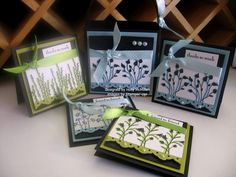 Stampin Up: Pocket Silhouettes card set. Lime and dark colous!