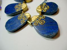 Gold Swirl Plated Natural Lapis Pear 4 Big Beads Pendants Focal Statement