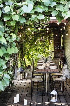 Fairy Lights are not just for Christmas - use string lights to add ambiance to a shady pergola Pergola Patio, Backyard Patio, Backyard Landscaping, Rustic Pergola, Pergola Carport, Steel Pergola, White Pergola, Corner Pergola, Wooden Pergola
