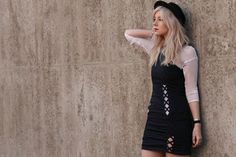 what is this adorable one shoulder lattice strip cutout dress? I want one...