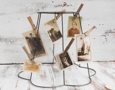 vintage wire lampshade turned photo display
