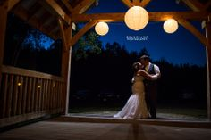 Light globes places on the front porch of the venue. It can make for a romantic photo also, like this one!   See more images by Beauchamp Photography, from this wedding at: http://beauchampphotography.ca/weddings/melissa-ryan/