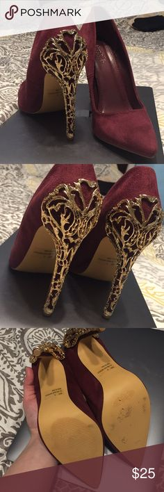 Gold Detail Maroon Heels I am obsessed with these and hate to part with them but they don't fit ☹️ NWOT, never worn out of the house. ADORABLE Back Detail on heel and rich maroon colored suede all over. Charlotte Russe Shoes Heels