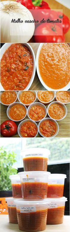 Receita de molho caseiro de tomates, fácil e saboroso.  http://www.encantadahome.com.br/2016/10/receita-molho-caseiro-de-tomate.html  #receita #molhodetomate #molhocaseiro #tomatecaseiro #tomate #caseiro #molho