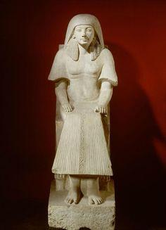 Statue of Maya, XVIII Dynasty, reign of Tutankhamun (1333 - 1323 BC) and Horemheb (1319 - 1292 BC), Limestone. Height: 216cm, width: 74cm, depth: 108cm. Collection D'Anastasi, Rijksmuseum van Ouheden, Leiden.
