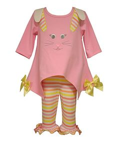 Look at this Pink Bunny Face Tunic & Stripe Leggings - Infant on #zulily today!