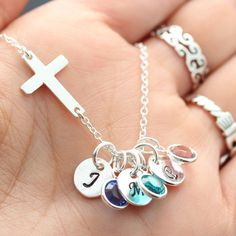 Sterling Sideways Cross Necklace, Family Birthstone and initials, Engraved Necklace, Grandma gift, Popular Mother gift, Sisters Gift on Etsy, $42.80