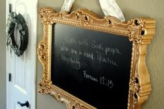 This could be a cuter approach to learning scripture than my taped up notecards on the bathroom mirror.  Plus, I love their idea of doing this over the mantle with a Christmas message.  :)