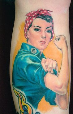 I love this.  one day i will get this to honor my mom!    Rosie the Riveter tattoo by Shane O'Neill