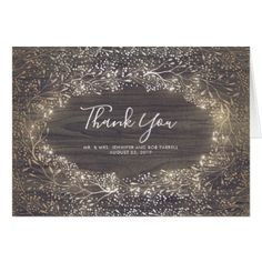 Vintage Rustic Floroal Faux Gold Foil Thank You Card - country wedding gifts marriage love couples diy customize