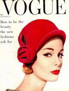 Monique Chevalier on the cover of Vogue US, September 1958.