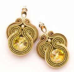 earrings - soutache-kremowy metalik - midi