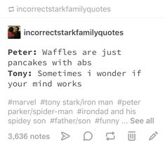 Marvel Tony Stark and Peter Parker a. IronDad and his Spidey Son Marvel Quotes, Funny Marvel Memes, Dc Memes, Avengers Memes, Marvel Actors, Marvel Heroes, Marvel Movies, Marvel Avengers, Superfamily Avengers