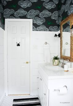 Daydream (Gray) Wallpaper Adds Just Enough Drama to This Bathroom - HouseBeautiful.com