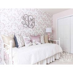 monograms, pink velvet, wallpaper, daybeds, it's what girly girls dreams are made of! #girlsroom #playspace #customhome #oneroomchallenge #orc #custominteriors #whitedaybed #design #style #interiorstyle #interiorinspiration #interiorstyling #roomstyle #de