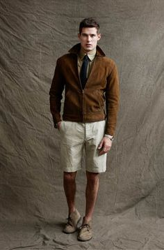 """I'm not normally a """"suede jacket-linnen shorts-ankle boot"""" kinda guy..but it works so well here"""