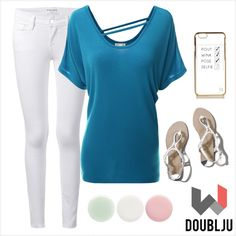 Doublju Women Dolman Sleeve Scoop Neckline with Straps Detail Knit Jersey by doublju-company on Polyvore featuring polyvore fashion style Doublju Frame Denim Abercrombie & Fitch River Island Nails Inc.
