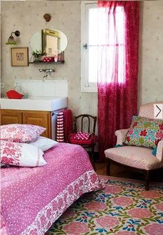 colourful vintage style bedroom