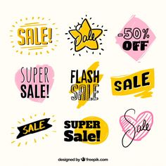 Set of beautiful hand drawn sale stickers Free Vector