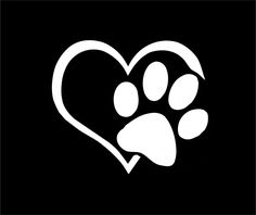 "3"" Love Pet Dog Cat Animal Paw Custom Vinyl Sticker Decal (White) 