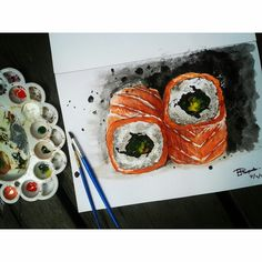 Sushi food watercolor painting  Check out the rest of my works on Instagram @mpupuutt
