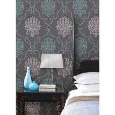 56 sq. ft. Suzette Aqua Modern Damask Wallpaper-DL30443 - The Home Depot