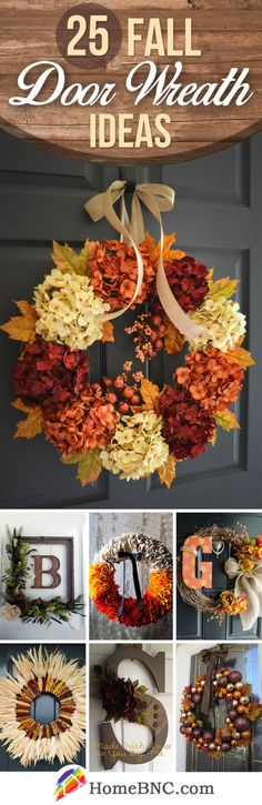 Fall Door Wreath Decor Ideas - Decoration For Home Fall Crafts, Holiday Crafts, Diy And Crafts, Decor Crafts, Fall Wreaths, Door Wreaths, Autumn Wreath Diy, Thanksgiving Decorations, Seasonal Decor
