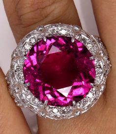 Reserved..Museum Quality...HUGE GIA Vintage 16.02ctw Round Pink TOURMALINE Diamond Platinum Ring