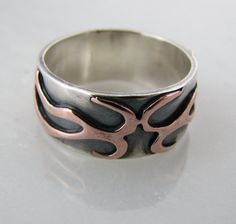 Sterling silver and copper branch ring  twig ring  twig por prox