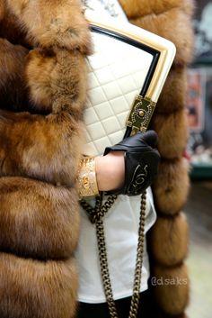 White Black Gold Boy Chanel Chanel Gloves. @chandlerstorer