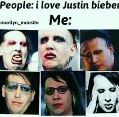 I hate JB with a passion, love Marilyn Manson with more passion Marilyn Manson, Metal Meme, Goth Memes, Brian Warner, Rock Poster, I Love Justin Bieber, Band Memes, Papi, Post Punk