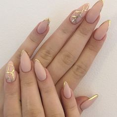Instagram media by nailspapoland - New manicure⏰ @margaret_official #nude #mattenails #goldfrench #frenchnails